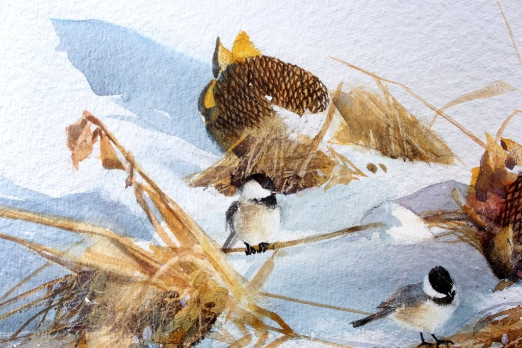 Chickadees in the Snow by Jean Halverson Montana T - 3
