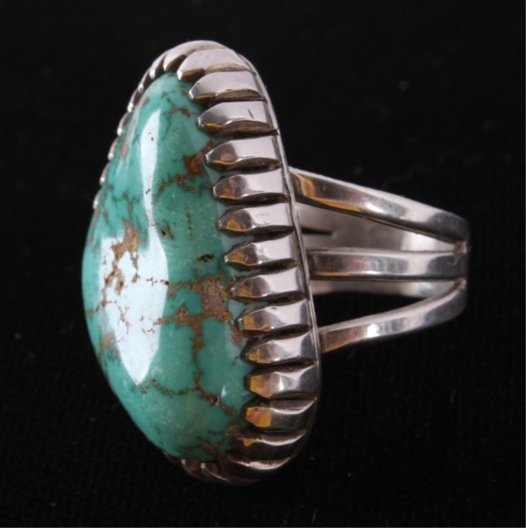 Navajo Turquoise & Silver Ring by A.J. Platero The