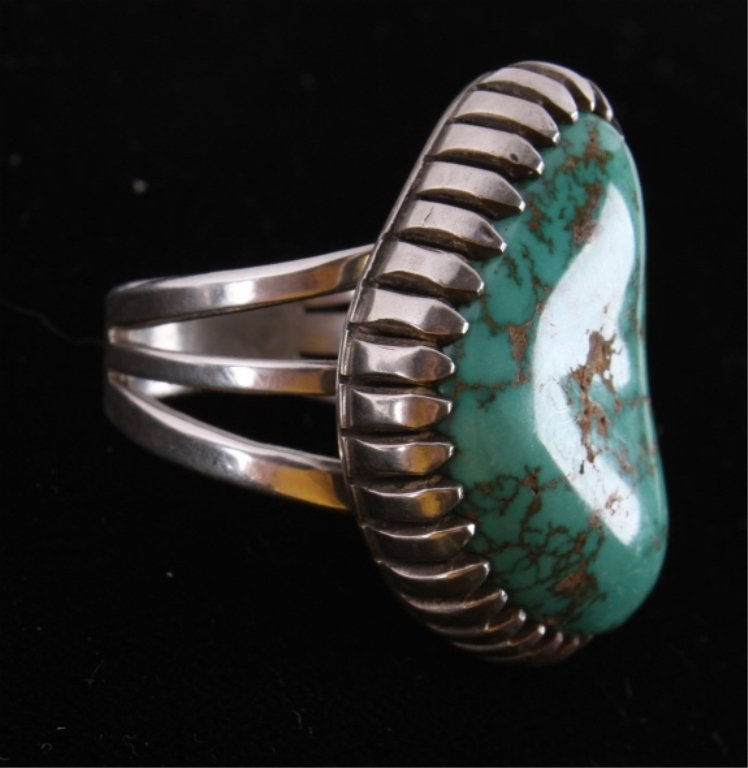 Navajo Turquoise & Silver Ring by A.J. Platero The - 3