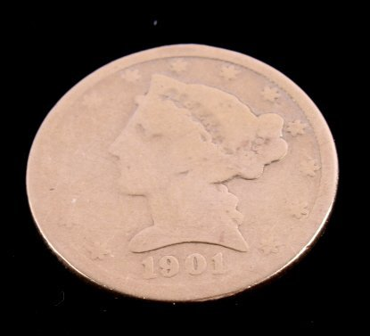 1901 Liberty Five Dollar Gold Coin This is an orig - 3