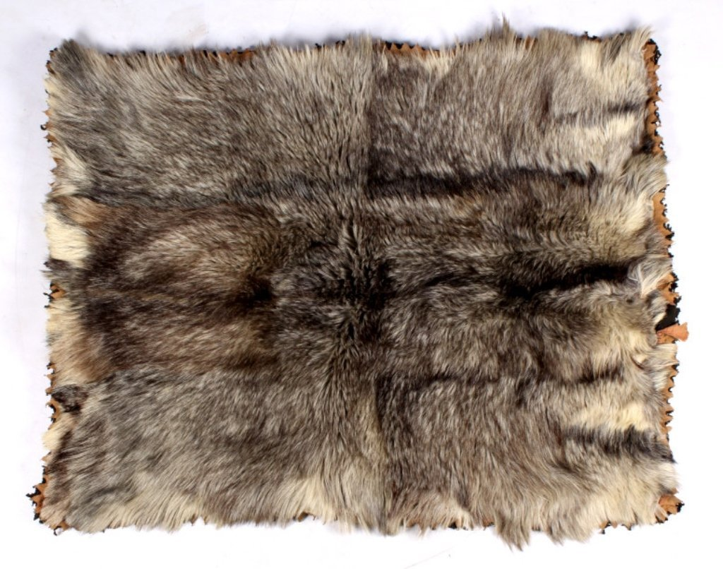 Antique Grey Wolf Fur Blanket This is an early ant
