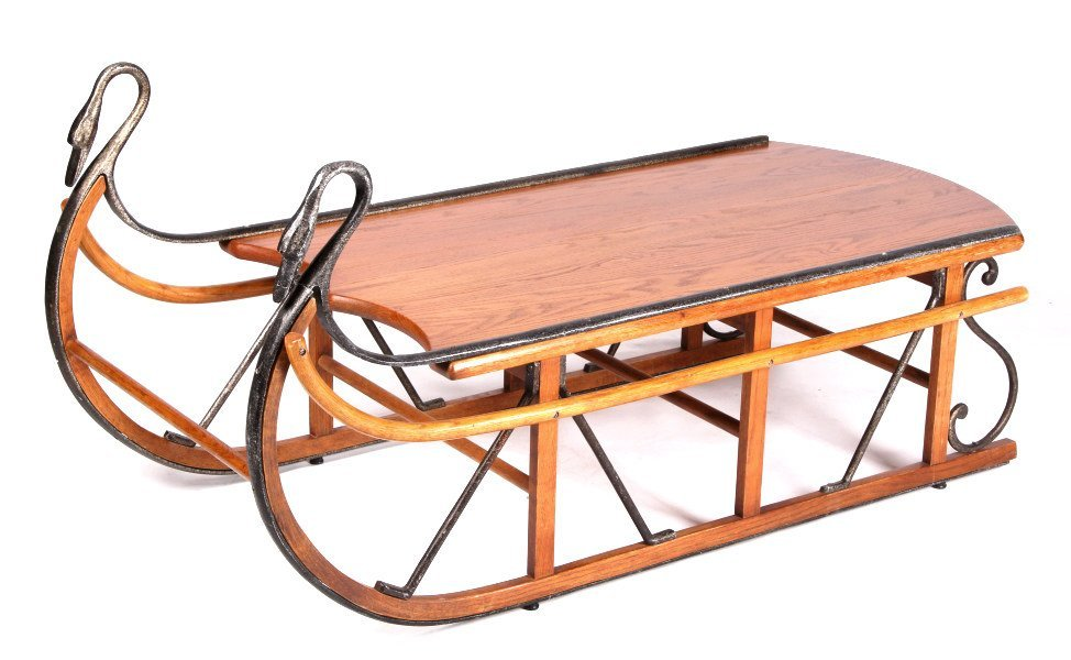 Antique Style Trails Sleigh Coffee Table The piece