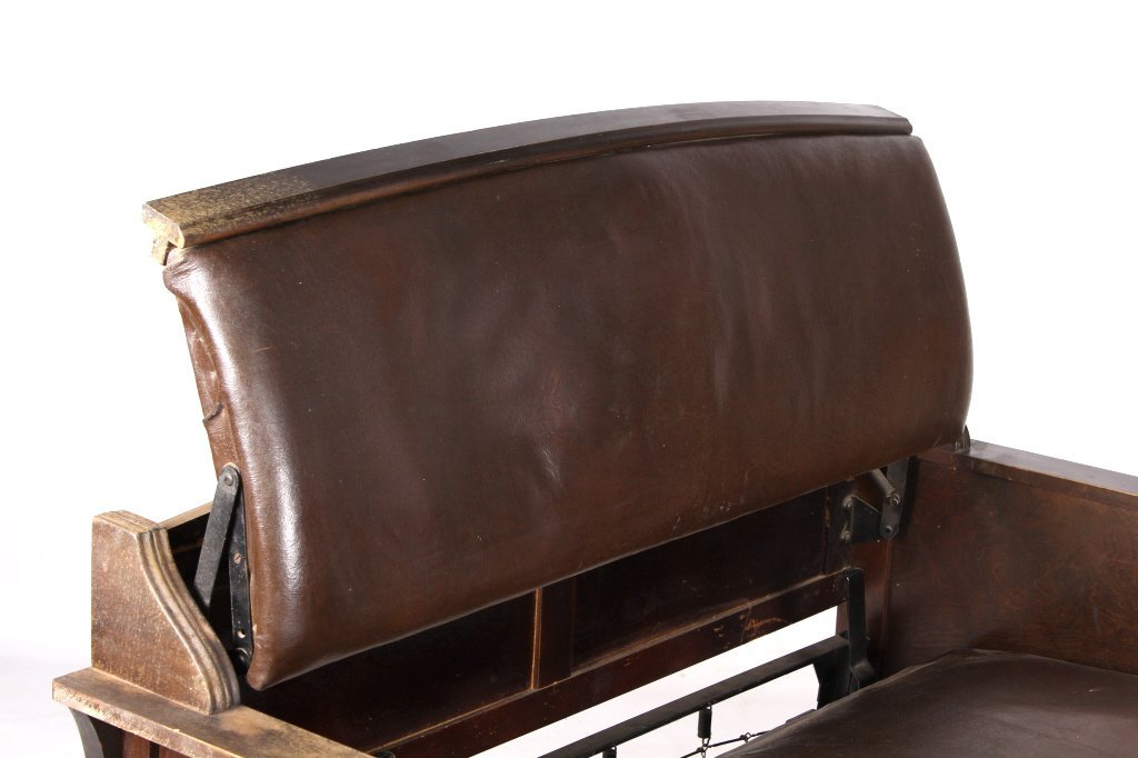 Antique Leather & Wood Sleeper Sofa This is a beli - 5