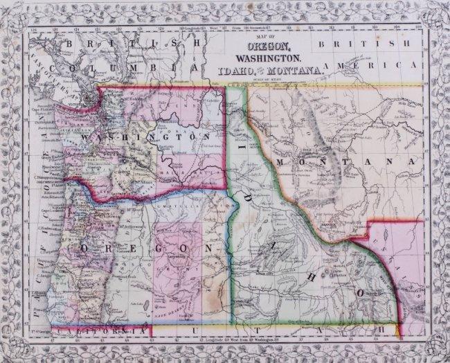Map Of Oregon Washington Idaho Amp Montana 1866 T  Lot 258C
