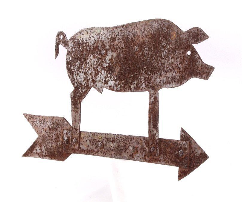Antique Folk Art Metal Pig Weathervane This is a f - 2