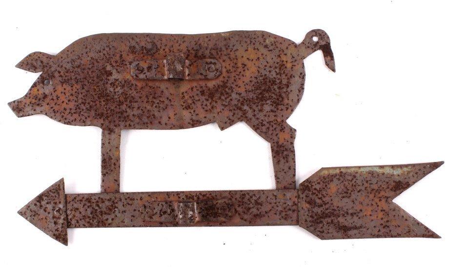Antique Folk Art Metal Pig Weathervane This is a f - 5