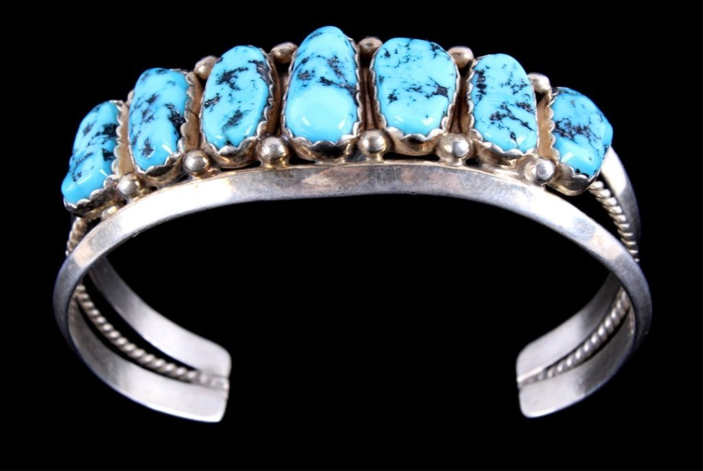 Navajo Turquoise & Sterling Bracelet by M. Spencer