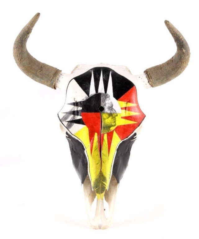 Montana Buffalo Skull w/ Original Indian Painting