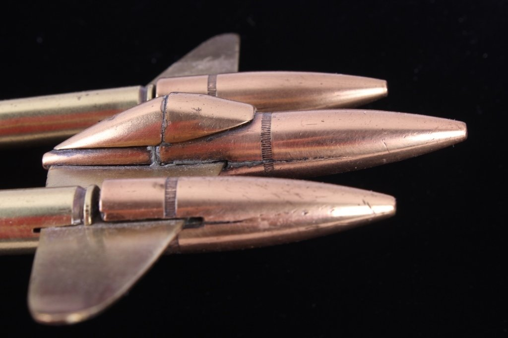 WWII Trench Art P38 Lighting Fighter Brass Bullets - 4