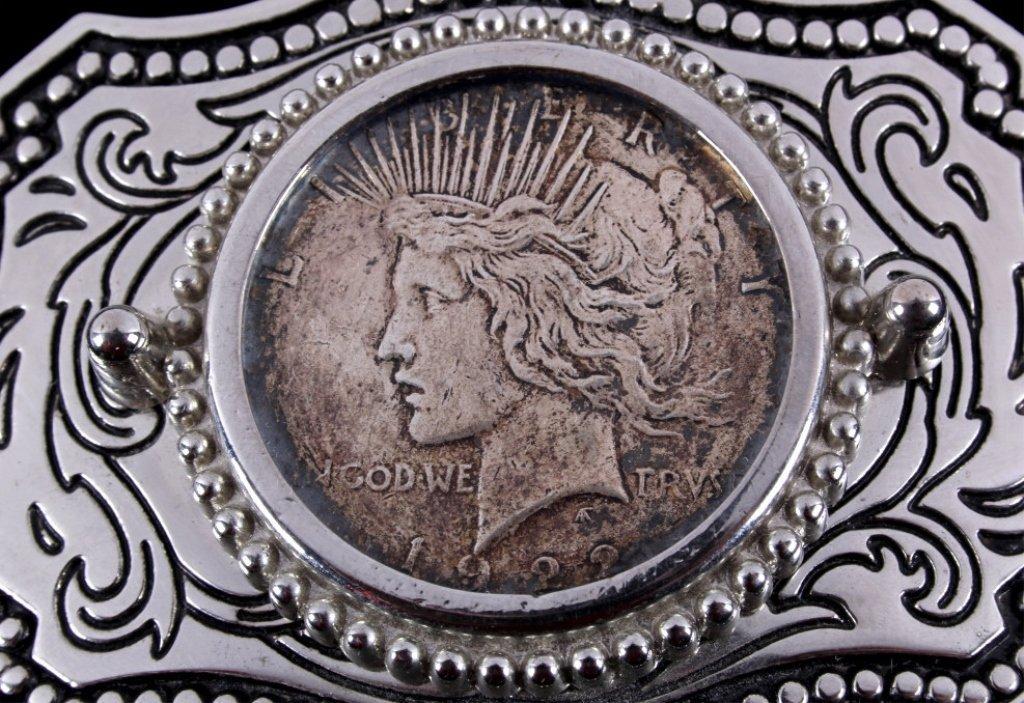Liberty Silver Peace Dollar 1922 Belt Buckle - 2