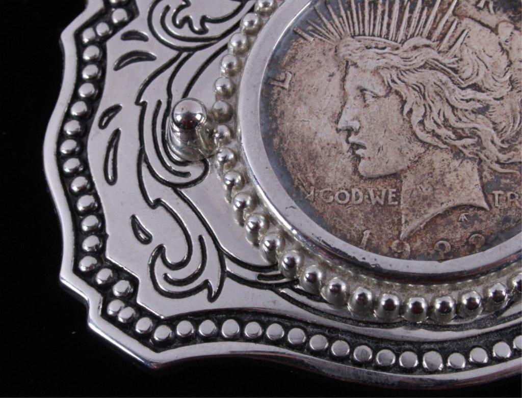 Liberty Silver Peace Dollar 1922 Belt Buckle - 3