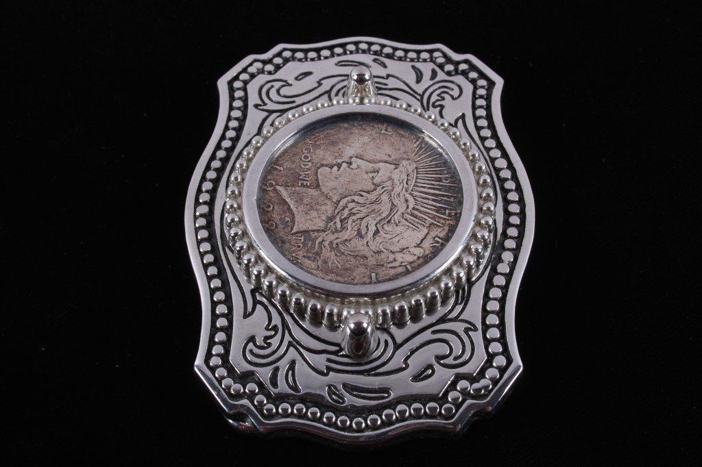 Liberty Silver Peace Dollar 1922 Belt Buckle - 4