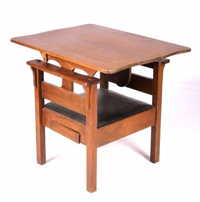 Antique Mission Oak Convertible Table Chair - 10