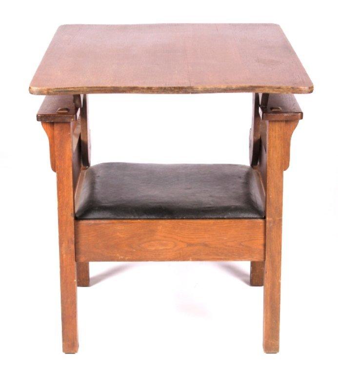 Antique Mission Oak Convertible Table Chair - 7