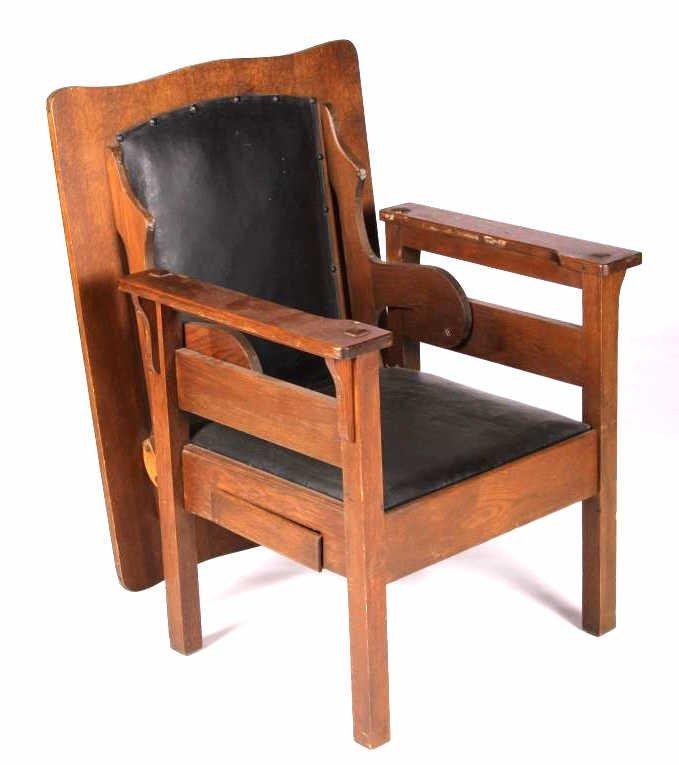 Antique Mission Oak Convertible Table Chair - 8