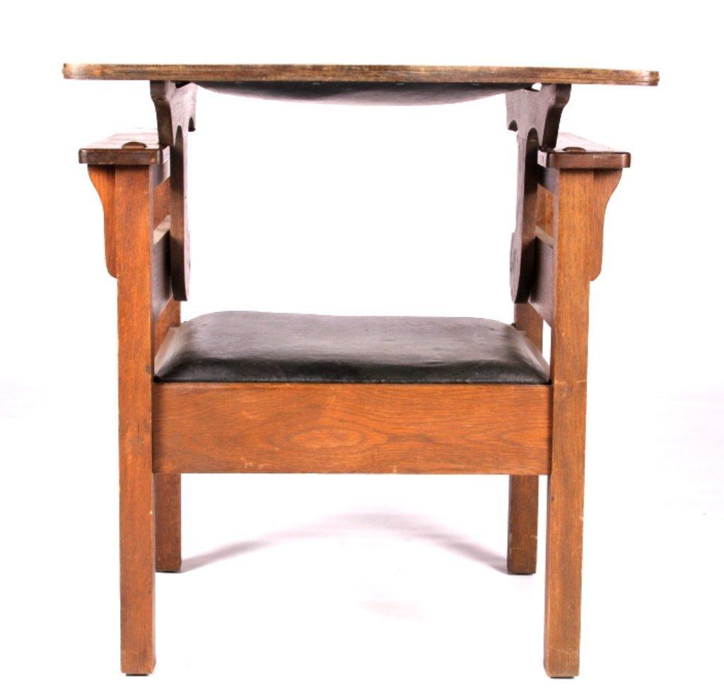 Antique Mission Oak Convertible Table Chair - 9