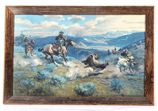 Roping a Grizzly Charles Russell Barn Wood Frame