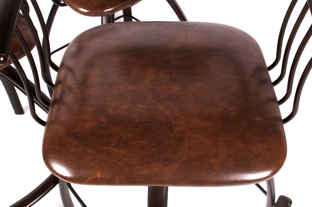 Gibo Creations Leather & Metal Bar Stool Set of 3 - 4