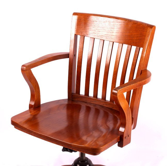 Solid Oak Mission Style Office Chair - 2