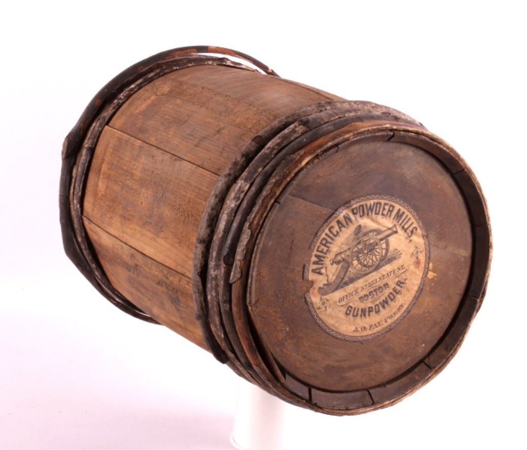 Antique 1800's Wooden Gun Powder Keg