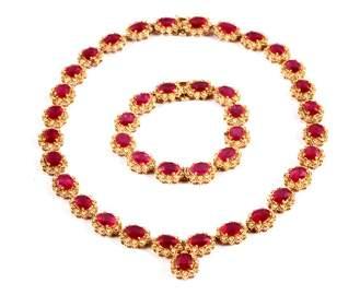 100.26ct Ruby 6.79ct Diamond 14k Necklace Bracelet