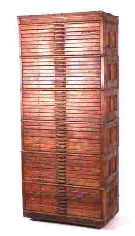 Antique Hamilton Oak Stacking Typeset File Cabinet
