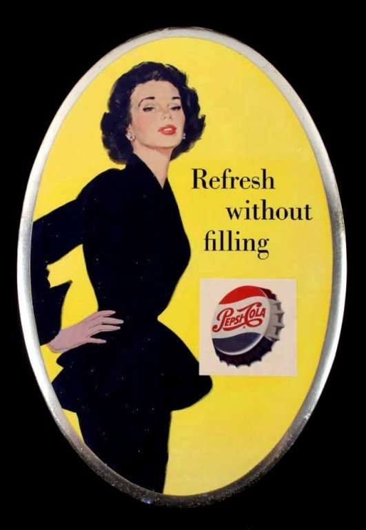 Pepsi Cola Oval Easel Backed Button Sign