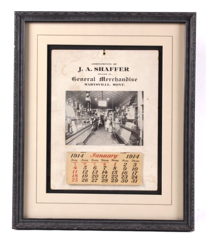 J.A. Shaffer Marysville Montana Calendar c. 1914