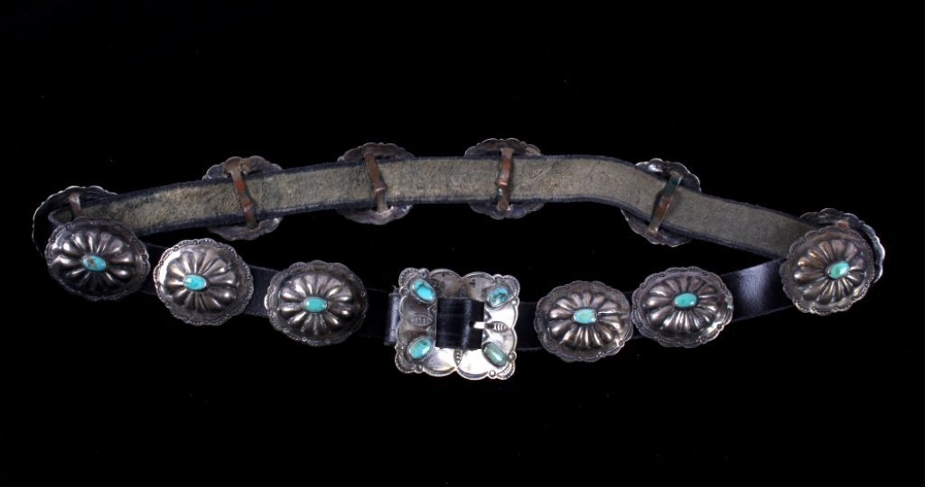 Navajo Sterling Turquoise Concho Belt c. 1920