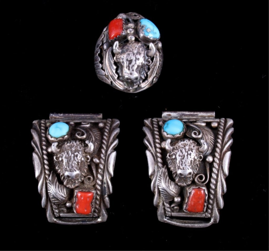 Navajo Sterling Buffalo Head Ring & Bracelet