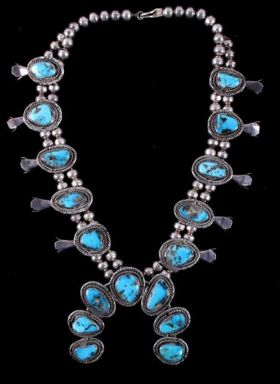 Old Pawn Silver Navajo Turquoise Squash Blossom