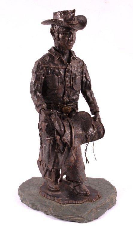 Hammered Iron Cowboy Sculpture
