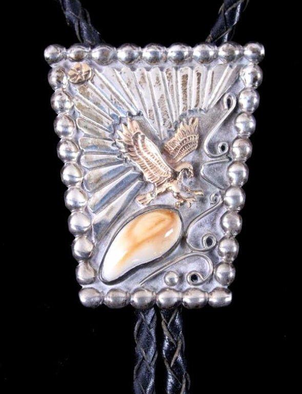 Navajo Sterling 14kt Gold Eagle Bolo Tie Elk Ivory