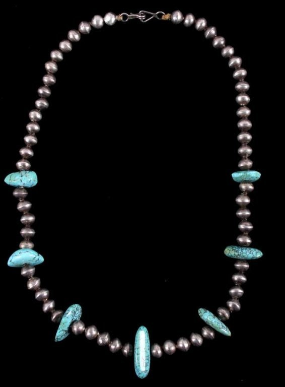 Navajo Turquoise & Trade Silver Bead Necklace