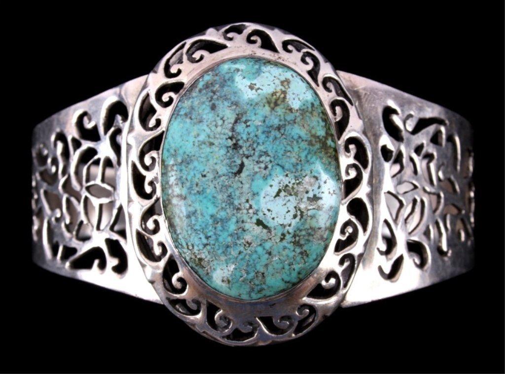 Navajo Turquoise Nugget Silver Filigree Bracelet