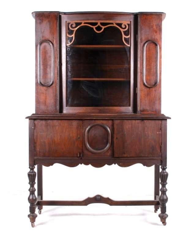 China Cabinet with Bowed Glass Door c. 1910-1920
