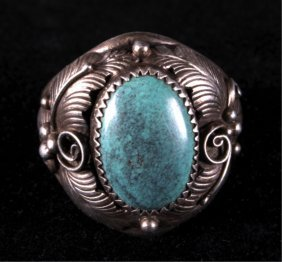 Navajo Sterling Silver And Turquoise Mens Ring