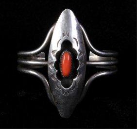 Navajo Sterling Silver & Coral Bracelet