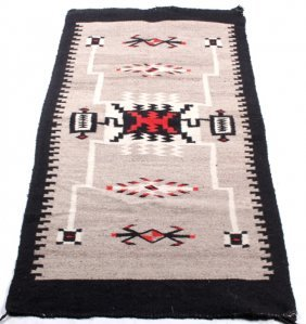 Navajo Two Grey Hills Storm Pattern Rug 1930-1950