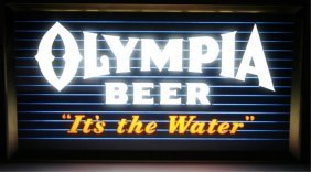 1930's Olympia Reverse On Glass Lighted Sign