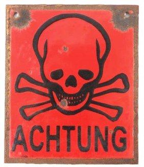 Wwii Nazi Achtung Skull & Bones Porcelain Sign