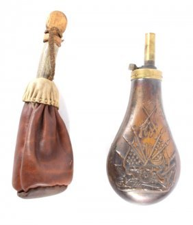 Us Copper Powder Flask With Cannon Flags