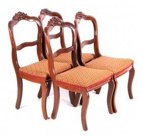 Antique Carved Dining Room Chair Set Of 4