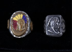 Native American Bust Sterling Silver Mens Rings