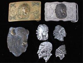 Indian Chief Silver Pins & Buckles Circa 1950