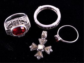Sterling Silver Rings And Pendant