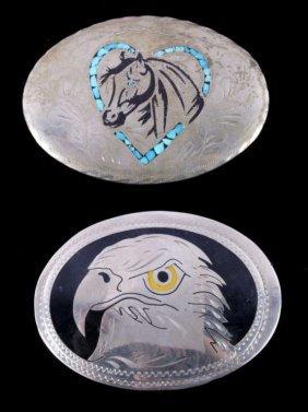 Vintage Western Navajo Belt Buckles Horse & Eagle
