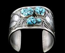 Navajo Turquoise Nugget & Sterling Bracelet Cuff