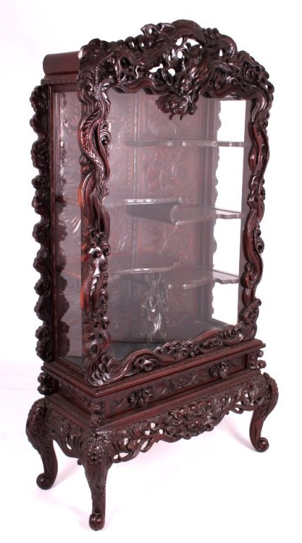 Antique Japanese Meiji Carved Curio Cabinet
