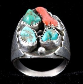 Navajo Turquoise & Coral Nugget Sterling Ring